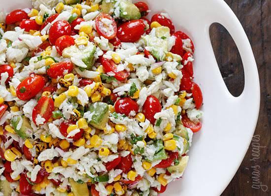 Summer Tomatoes, Corn, Crab and Avocado Salad Recipe
