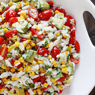 Summer Tomatoes, Corn, Crab and Avocado Salad.