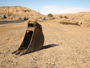 Photo: Another piece of heavy machinery carelessly left behind (who's going to steal it?) Note the welding scars, probably in an attempt to repair it.