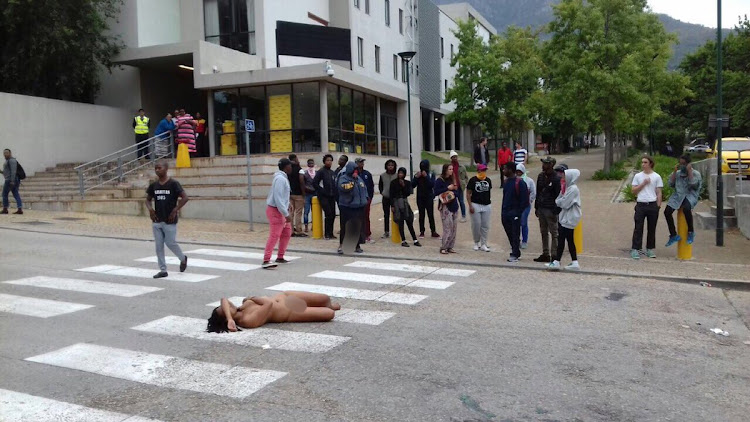 Naked woman arrested at UCT #FeesMustFall protest