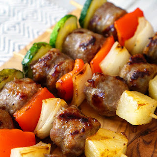 Grilled Bratwurst and Vegetable Shish Kabob Skewers.