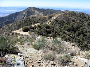 Photo: View south from Sunset Peak toward the junction(5580') on south ridge of Sunset Peak. I shall take a shortcut and descend directly down this ridge then follow that ridgeline south to that nearest highpoint, then turn right and follow that ridge down. Culver Peak (5511') stands in the distance.