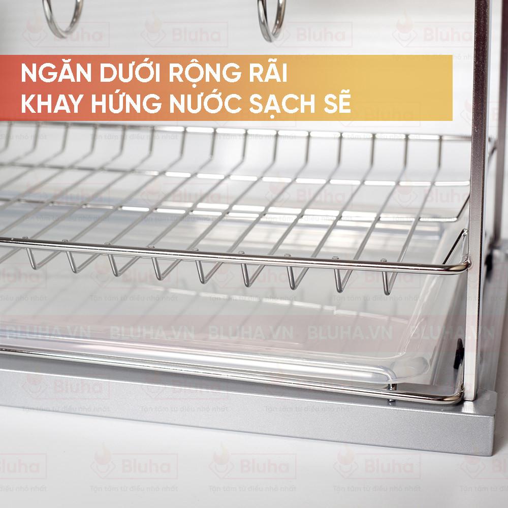 Ngăn dưới rộng rãi, khay hứng nước sạch sẽ - Giá chai lọ dao thớt garis inox nan - phụ kiện bếp chính hãng