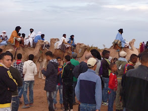 Photo: Camels and their riders at Taragalte Festival site