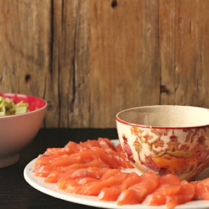 Salmon Sashimi with Sautéed Kale