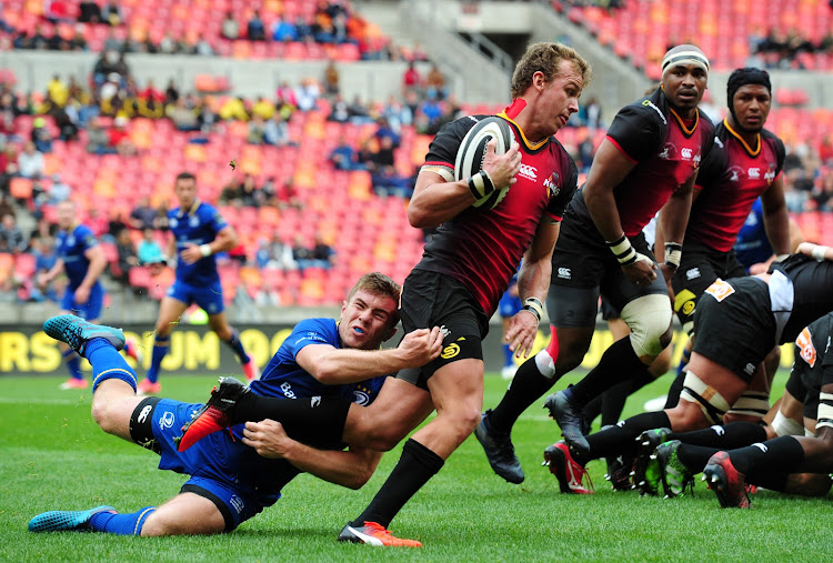 Rudi van Rooyen of the Kings is tackled by Luke McGrath of Leinster during the 2017 Guinness PRO14 game between the Southern Kings and Leinster at Nelson Mandela Bay Stadium on 16 September 2017.
