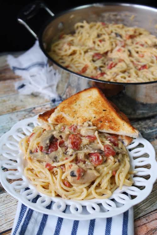 """Pantry Chicken Spaghetti """"This Pantry Chicken Spaghetti is a great meal to..."""