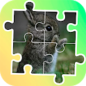 Tile puzzle baby animals icon