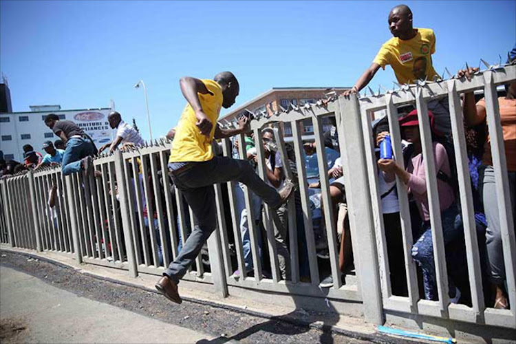 Walter Sisulu University students during a Fees Must Fall protest