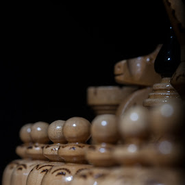 Pawns chess by Aleksander Cierpisz - Artistic Objects Other Objects ( wooden, start, chess, white, line, board, bokeh, startup, light, pawns, pawn )