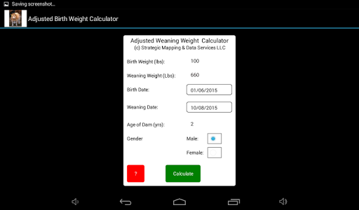 Adjusted Weaning Weight Calc