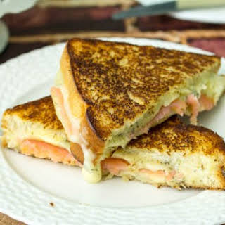 Gourmet Grilled Dill Havarti and Salmon Sandwich.