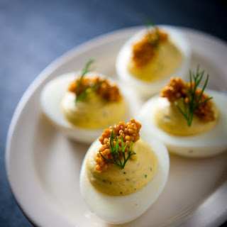 Pickled Herring Deviled Eggs w/ Mustard Seeds & Dill.