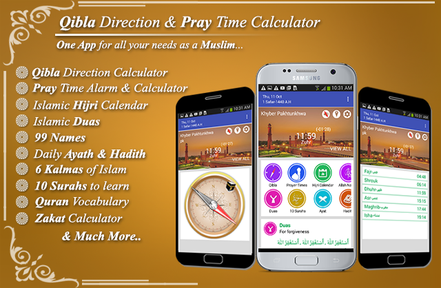 Qibla Direction Finder & Prayer Time Alarm