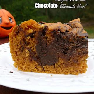 Pumpkin Cake with Chocolate Cheesecake Swirl