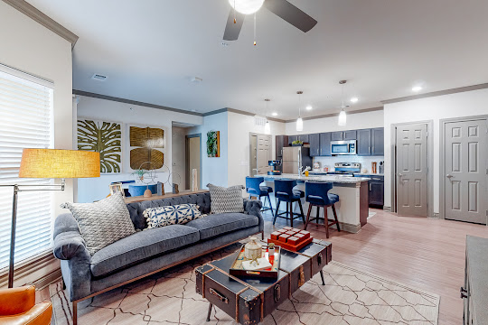 Old River floorplan living room and kitchen areas