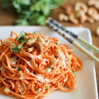 Raw Carrot Pasta with Ginger-Lime Peanut Sauce.