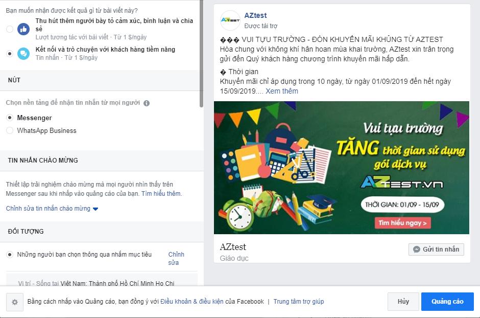 Xem trước giao diện xuất hiện trên Facebook khi quảng cáo