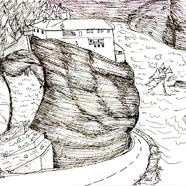 by Melissa Toothman - Drawing All Drawing ( greek, rock, climb, mediterranean, greece, temple )