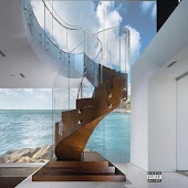 The Wooden Spiral Staircase in a Glass House