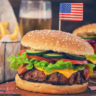 Foreman Grill American Hamburger.