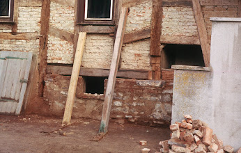 Photo: Some of the oak beam hidden under a layer of stukko were rotten and needed to be replaced.