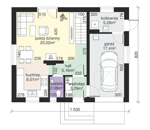 Dom przy Alabastrowej 23 - Rzut parteru