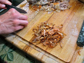 Photo: finely slivered roast duck skin