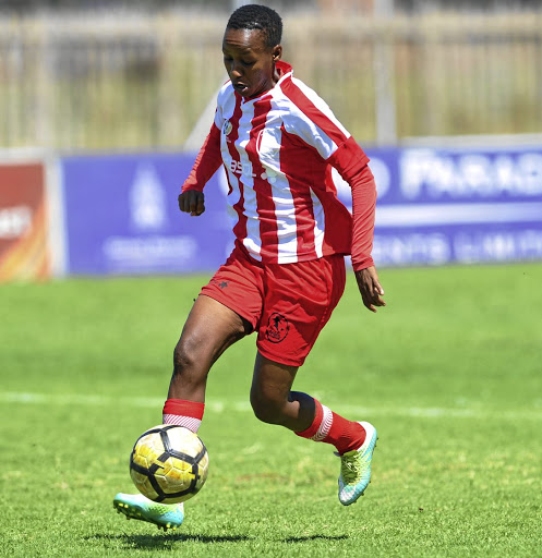 Midfield maestro Busisiwe Ndimeni came off the bench to score for TUT./Sydney Mahlangu / BackpagePix