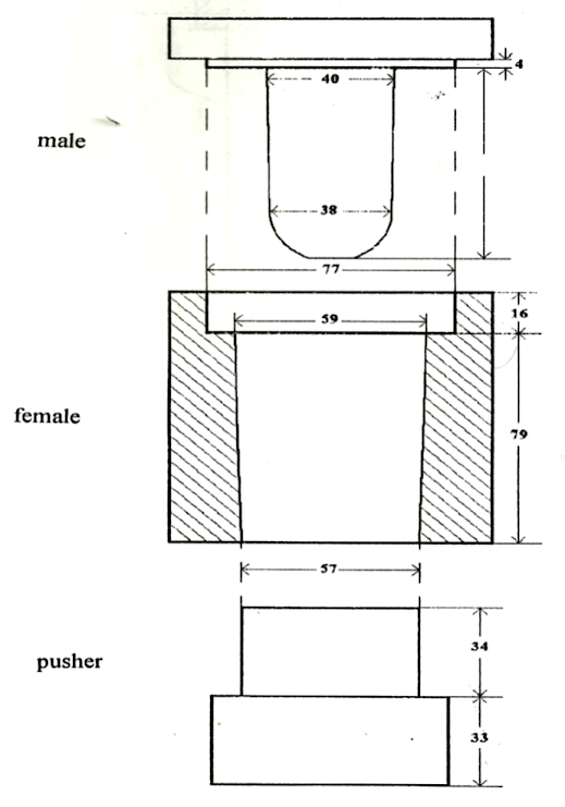 Cross-section view of the mold