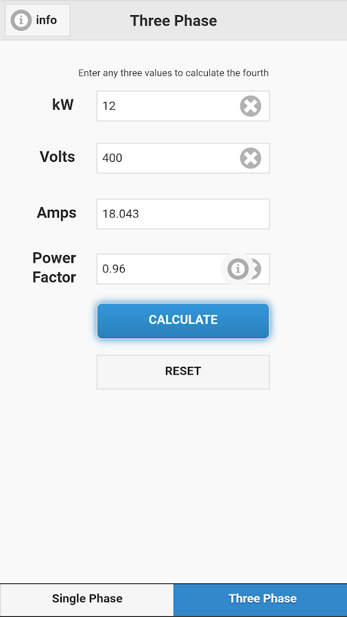 Watts Amps Volts Calculator- screenshot