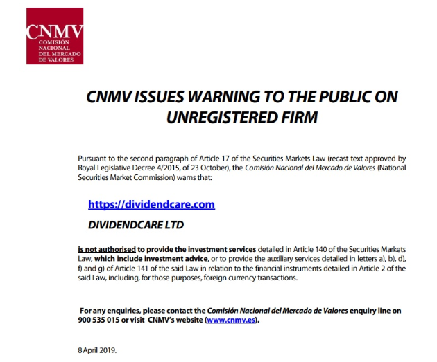 Image of CNMV's Warning against DividendCare Limited