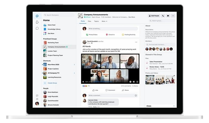 Facebook Workplace live video update