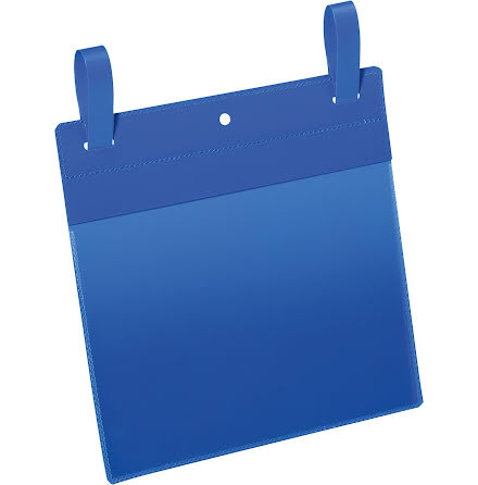 Plastficka A5L m. fästband blå