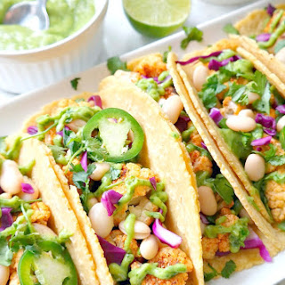 Roasted Cauliflower Tacos with Avocado Lime Crema