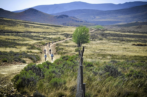 Away from it all: Cyclists explore gravel roads on the Lormar Endurance horse stud and guest farm near Hanover. Six endurance events are held on the farm annually. Picture: MARDI DE KLERK