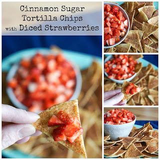 Homemade Cinnamon Sugar Tortilla Chips with Diced Strawberries.