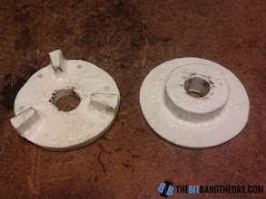 Photo: Two plastic pieces to make movement transmission from motor to wheel
