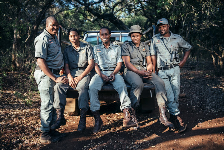 Somkhanda rangers Sihle Nathi, Zamani Nkosi, Zama Ncube, Ntokozo Nxumalo and Moses Gumbi, who are helping to monitor the lions and other priority species.