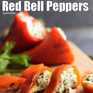 Feta Stuffed Red Bell Peppers.