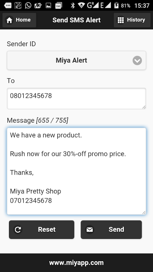 Miyapp Bulk SMS Gateway- screenshot