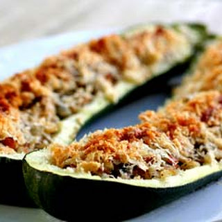 Stuffed Zucchini with Ham and Mushrooms.