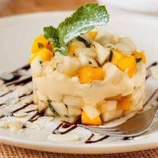 Dessert Of Autumn Fuchow With Mascarpone And Mango.