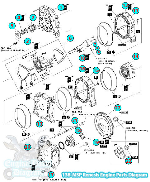 Mazda RX8 Renesis Engine Parts Diagram (13B-MSP)Engine Parts Diagram