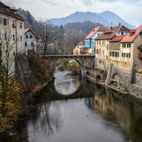 The Cappuchin Bridge by Mara R. Sirako - Buildings & Architecture Public & Historical ( history, cultural heritage, old, skofjaloka, sora, slovenia, cappuchin, bridge )
