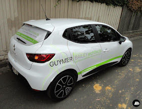 Photo: Partial vehicle wrap on a Renault Clio for Guymer Bailey Architects. #Renault #Clio #partialvehiclewrap #vehiclebranding #architect #vehicledecals #smallbusiness #AutoSkin~driveyourbrandhome