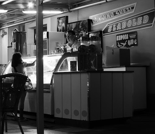 ice cream man by Renato Dibelčar - People Street & Candids ( izola, girl, food, ice, street, slovenia, ice cream, summer, night, sommer, man )
