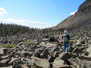 Photo: Picking our way through the boulder field