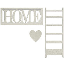 FabScraps Lavender Breeze Die-Cut Chipboard - Home W/Heart & Ladder