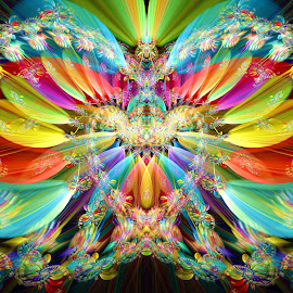 X-Sym Heart by Peggi Wolfe - Illustration Abstract & Patterns ( abstract, wolfepaw, gift, heart, unique, bright, illustration, blur, spiral, fun, digital, print, décor, pattern, color, unusual, symmetry, x-sym, fractal, rainbow )